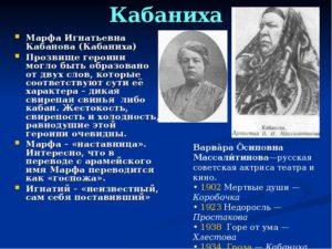 Гроза характеристика образа Кабановой Марфы Игнатьевны