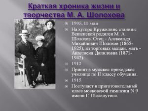 Краткая хроника жизни и творчества Шолохова М.А.