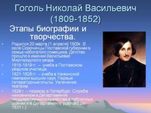 Биография Гоголя Николая Васильевича