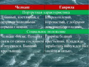 Челкаш и Васька Пепел (сравнительная характеристика героев)