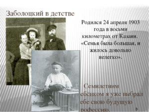 Детство и юность Заболоцкого Н.А.