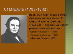 Краткая биография Стендаля (Анри Мари Бейль)